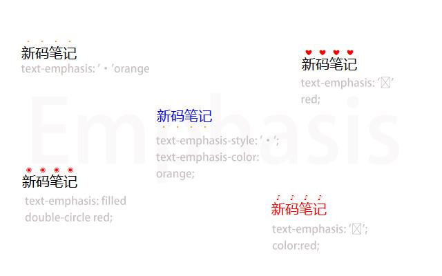 CSS  Emphasis Marks 文本强调装饰 示例图